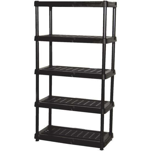 Contico 72 In. x 36 In. x 24 In. 5-Tier Ventilated Black Resin Plastic Shelving