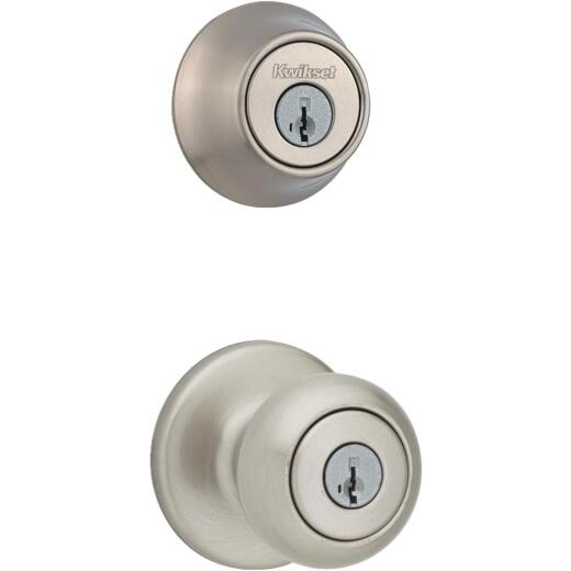 Kwikset Cove Satin Nickel Deadbolt and Door Knob Combo