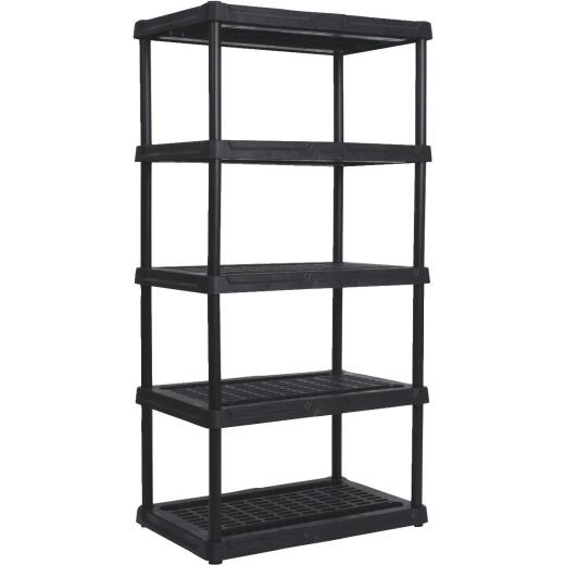 Contico 72 In. x 36 In. x 18 In. 5-Tier Ventilated Black Resin Plastic Shelving