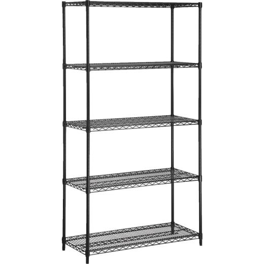 Honey Can Do 42 In. x 72 In. x 18 In. 5-Tier Black Steel Heavy-Duty Shelving