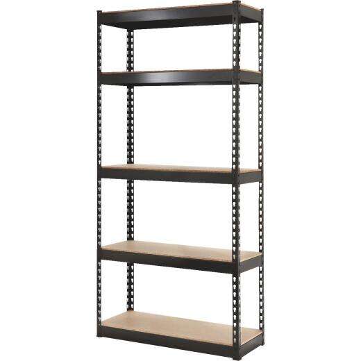 L-Beam 34 In. x 72 In. x 14 In. Black Steel 5-Tier Shelving