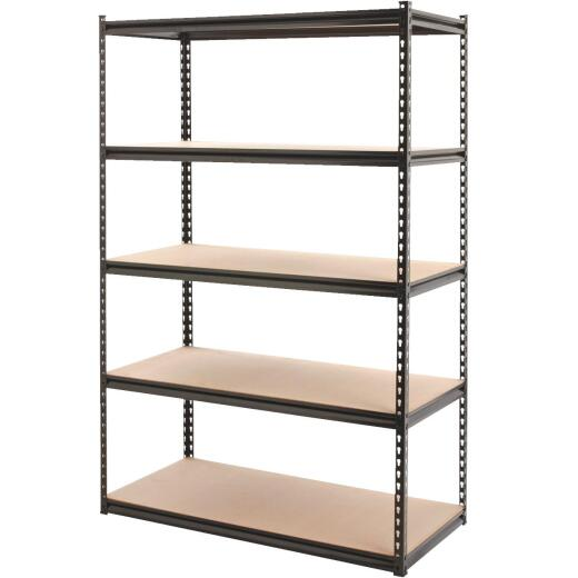Z-Beam 48 In. x 72 In. x 24 In. Black Steel 5-Tier Shelving