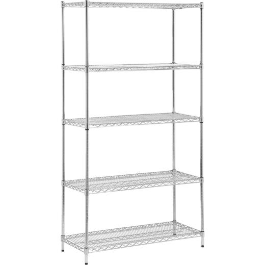 Honey Can Do 42 In. x 72 In. x 18 In. Chrome Steel 5-Tier Heavy-Duty Shelving