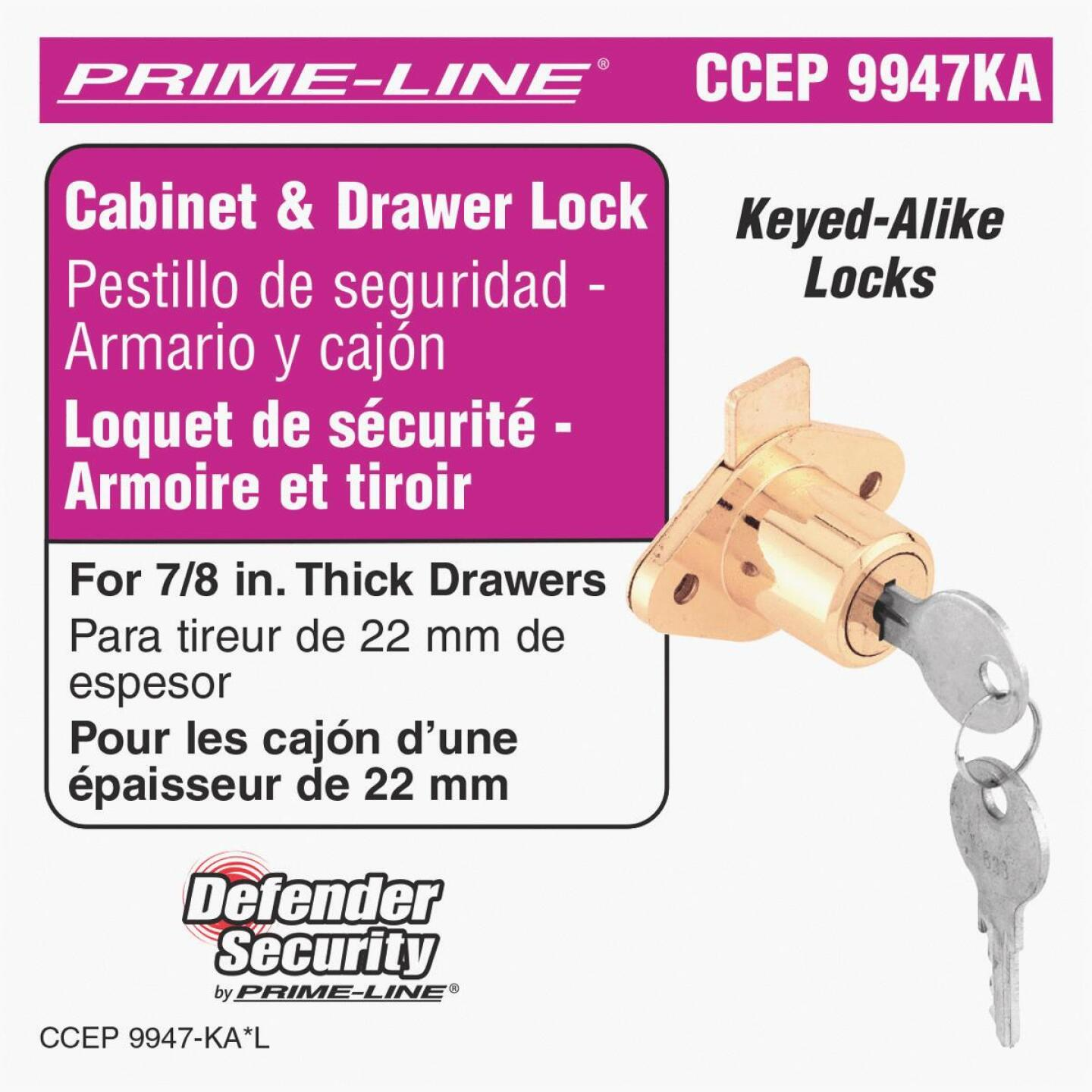 Defender Security Drawer & Cabinet Lock - Keyed Alike Image 2
