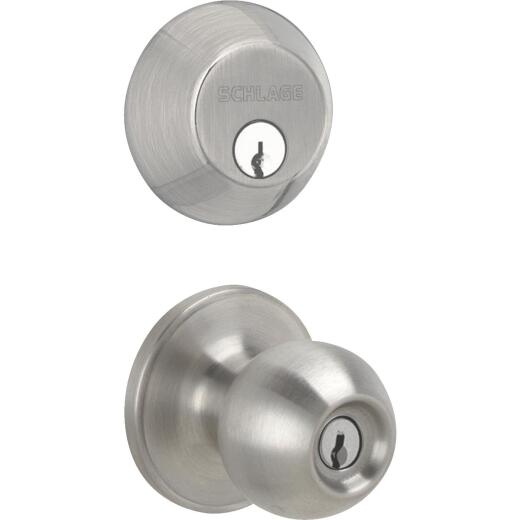 Dexter Satin Nickel Deadbolt and Door Knob Combo