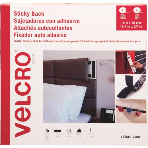 VELCRO Brand 3/4 In. x 49 Ft. Black Sticky Back Reclosable Hook & Loop Roll