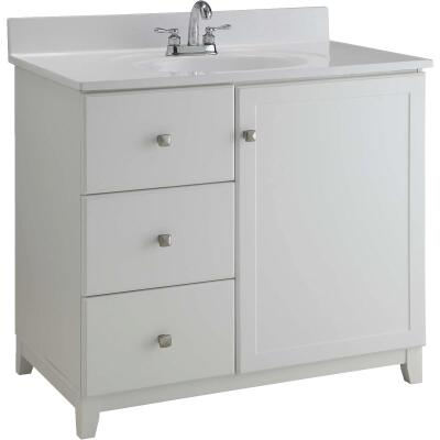 Design House Shorewood White 30 In. W x 33 In. H x 21 In. D Vanity Base, 1 Door/3 Drawer