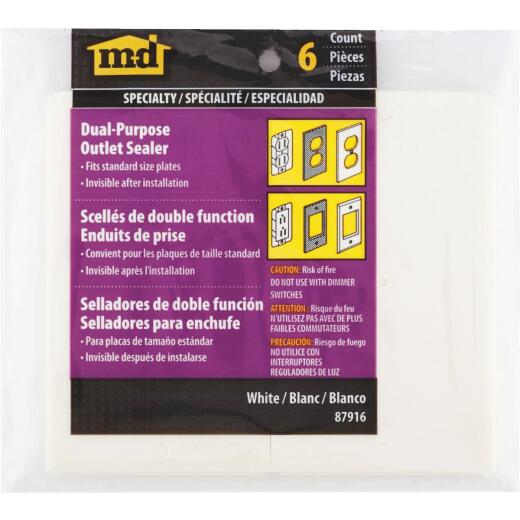 M-D Switch & Wall Plate Insulator, (6-Pack)
