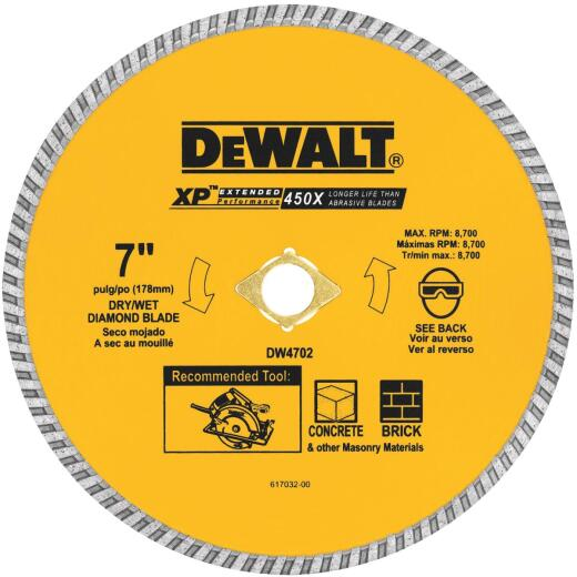 DeWalt Extended Performance 7 In. Turbo Rim Dry/Wet Cut Diamond Blade