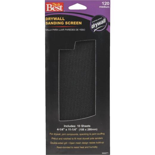 Do it Best 120 Grit 4-1/4 In. x 11-1/4 In. Drywall Sanding Screen (10-Pack)