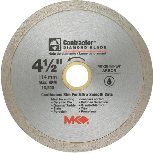 MK Diamond Contractor 4-1/2 In. Continuous Rim Wet Cut Diamond Blade