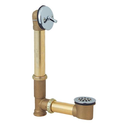 Do it Rough Brass Trip Lever Bath Drain with Polished Chrome Trim
