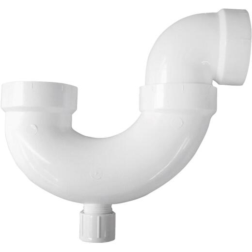 Charlotte Pipe 2 In. White PVC P-Trap with Cleanout