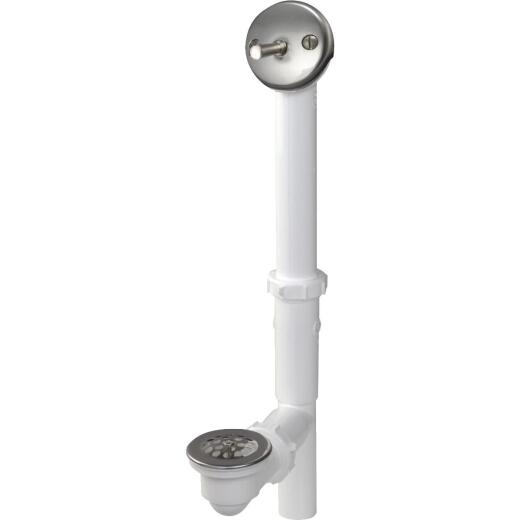 Do it White Plastic Trip Lever Bath Drain with Brushed Nickel Trim and Strainer & Dome Grid