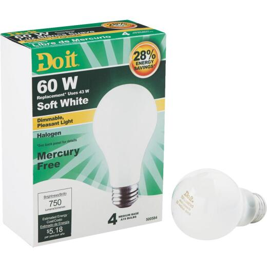 Do it 60W Equivalent Soft White Medium Base A19 Halogen Light Bulb (4-Pack)