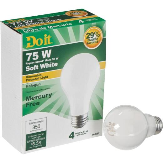 Do it 75W Equivalent Soft White Medium Base A19 Halogen Light Bulb (4-Pack)