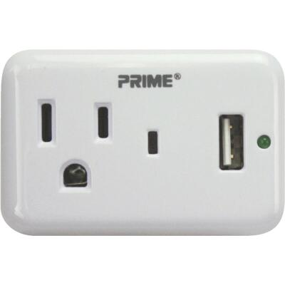 Prime Wire & Cable 1 Power & 1 USB White Wall Charger