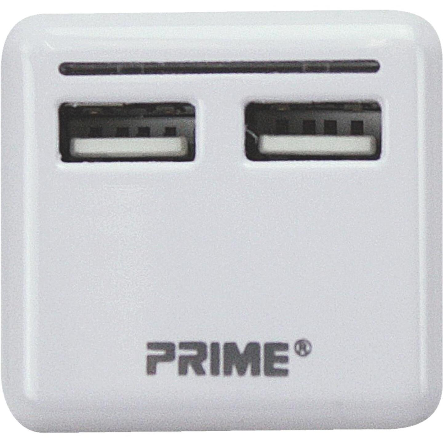 Prime Wire & Cable 2-Port White USB Charger Image 1