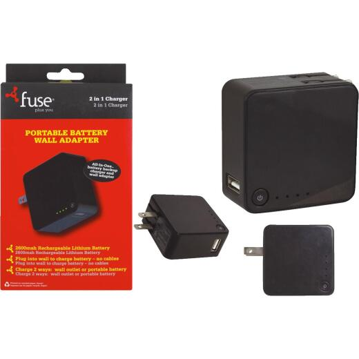 Fuse Black Battery Backup & Wall USB Charger