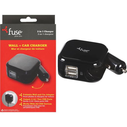 Fuse Car & Wall Dual USB Black Charger