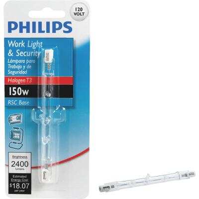 Philips 150W 120V Clear RSC Base T3 Halogen Work Light Bulb
