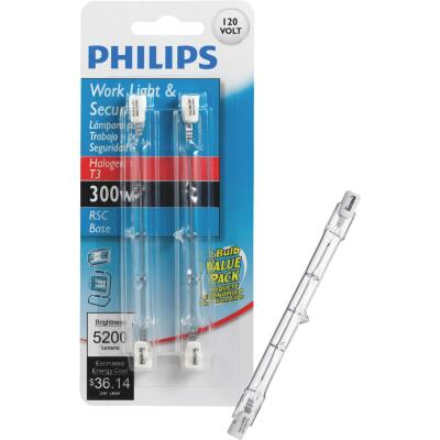 Philips 300W 120V Clear RSC Base T3 Work Light Bulb (2-Pack)