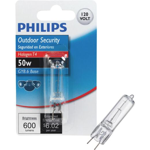 Philips 50W 120V Clear GY8.6 Base T4 Halogen Special Purpose Light Bulb