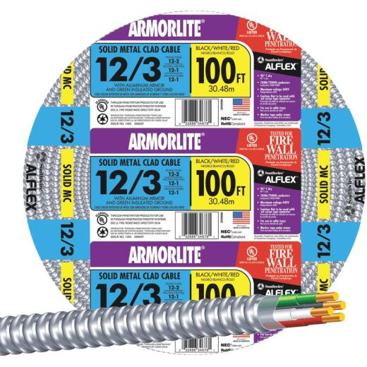 Southwire 100 Ft. 12/3 MC Armored Cable
