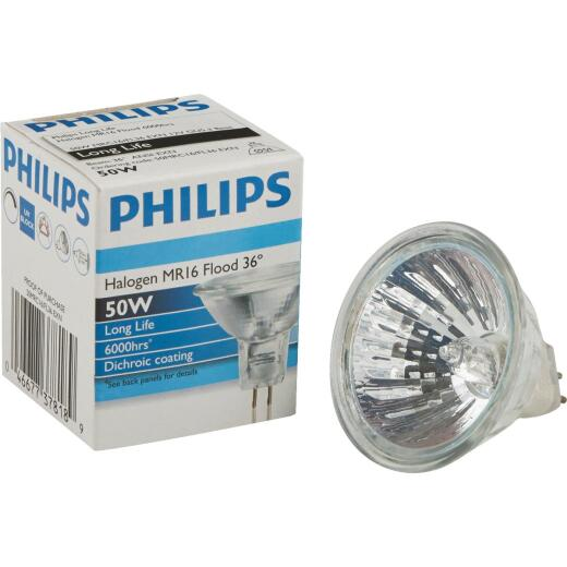Philips 60W Equivalent Clear GU5.3 Base MR16 Halogen Floodlight Light Bulb