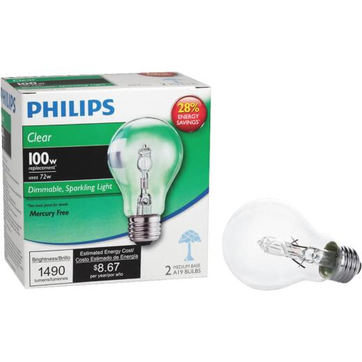 Philips 100W Equivalent Clear Medium Base A19 Halogen Light Bulb (2-Pack)