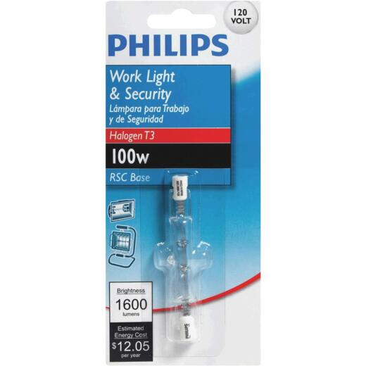 Philips 100W 120V Clear RSC Base T3 Halogen Work Light Bulb