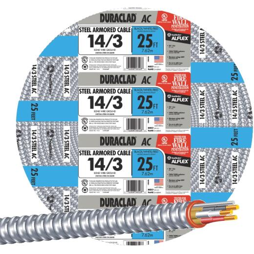 Southwire 25 Ft. 14/3 AC Armored Cable