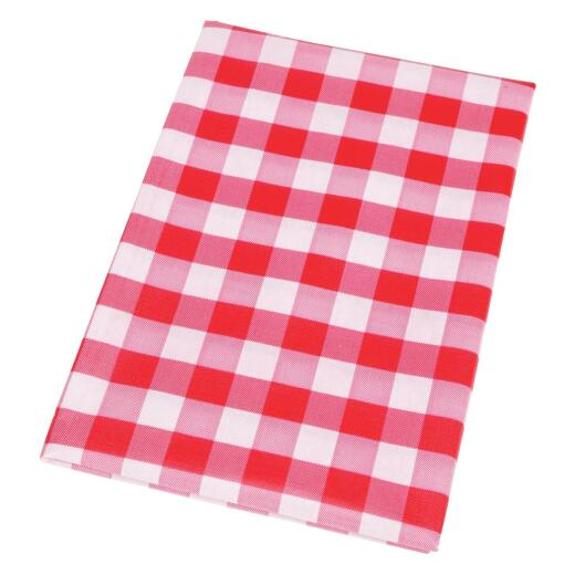 Nordic Shield 60 In. Dia. Red & White Checkerboard Vinyl Tablecloth