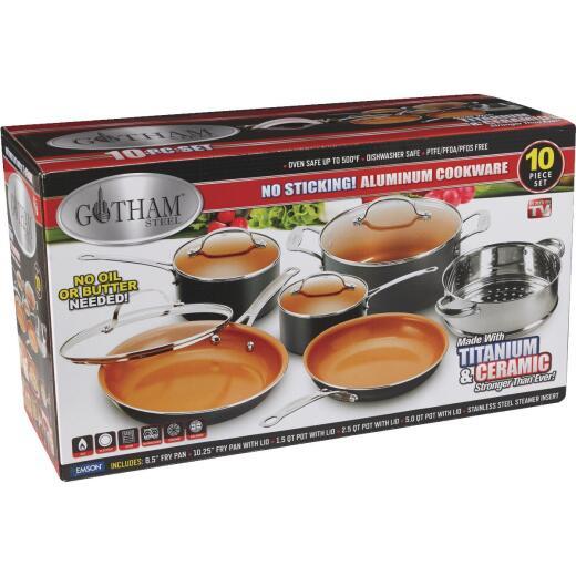 Gotham Steel Gray Non-Stick Aluminum Round Cookware Set (10-Piece)