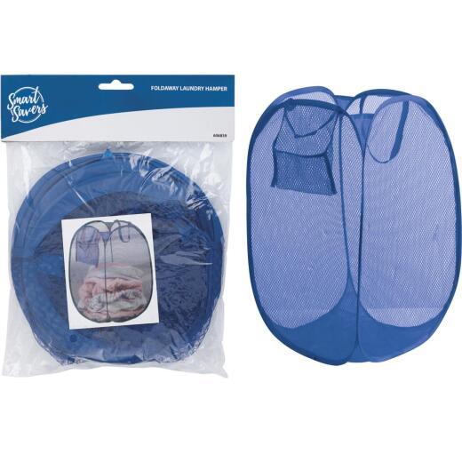 Smart Savers Blue 14 In. W. x 14 In. L. 23 In. D. Foldaway Clothes Hamper Tote