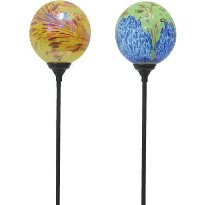 Moonrays Swirled Glass Ball 30 In. H. Solar Stake Light