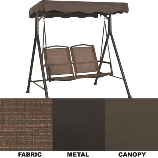 Outdoor Expressions 2-Person 66 In. W. x 66 In. H. x 52 In. D. Brown Patio Swing