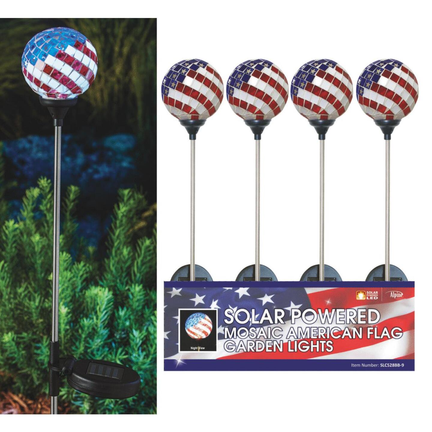 Solaris Americana Glass Globe 33 In. H. Solar Stake Light Image 1