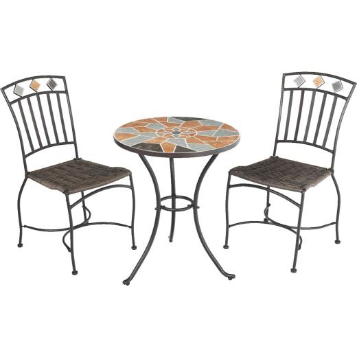Outdoor Expressions Santorini 3-Piece Bistro Set with Wicker Seats