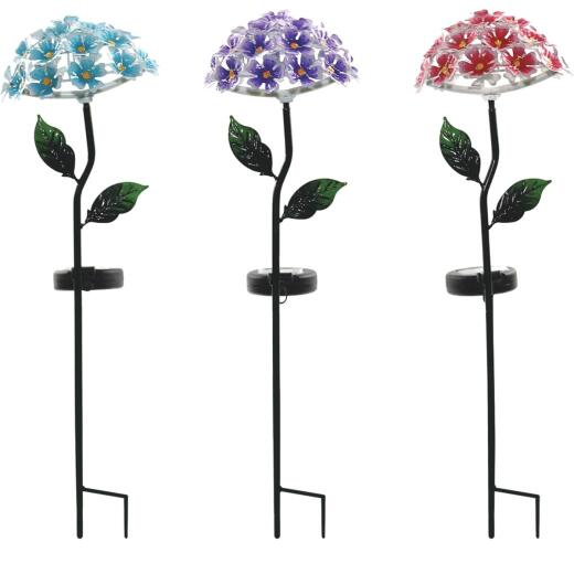 Alpine Solaris Metal Hydrangea 20 In. H. Solar Stake Light
