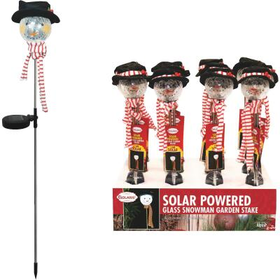 Solaris 33 In. LED Solar Snowman Holiday Garden Stake