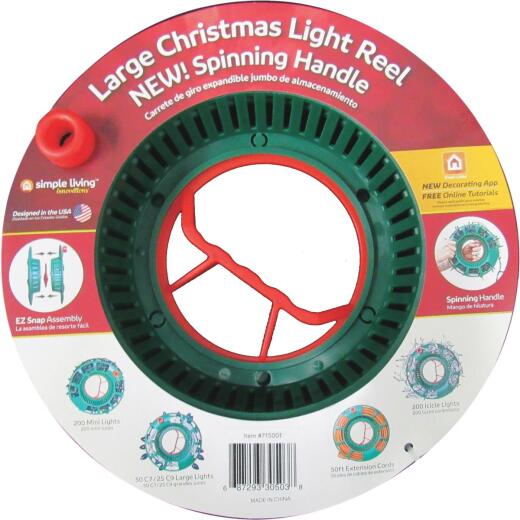 Simple Living Solutions Large Green Plastic Light Set Storage Reel